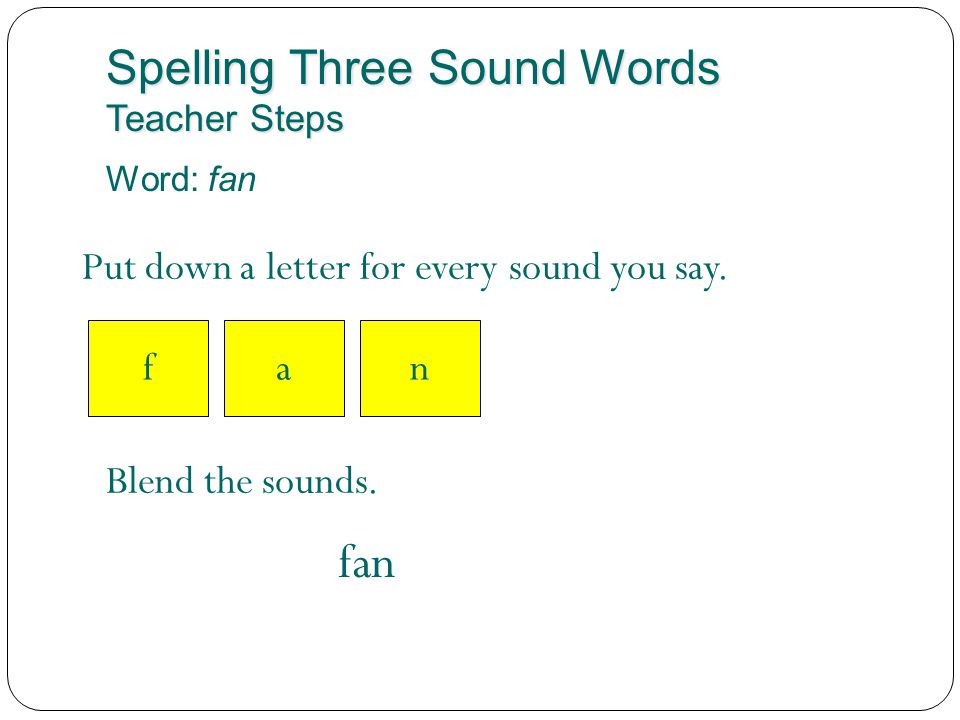 Spelling Three Sound Words Teacher Steps