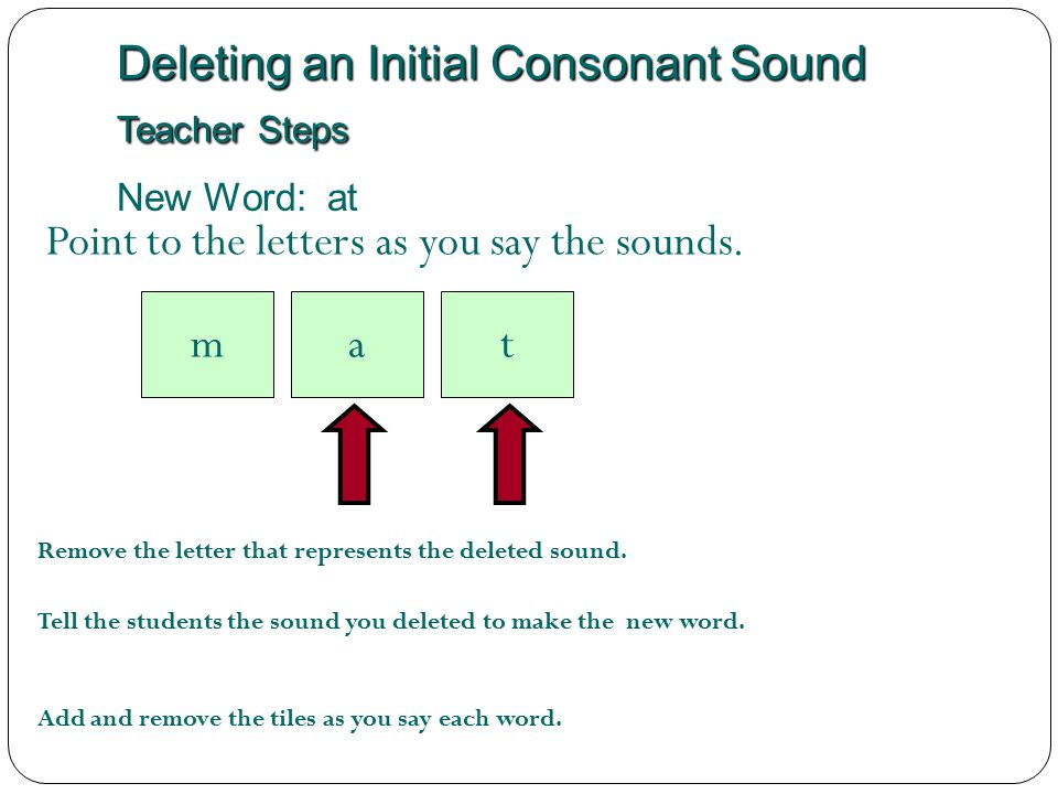 Deleting an Initial Consonant Sound Teacher Steps