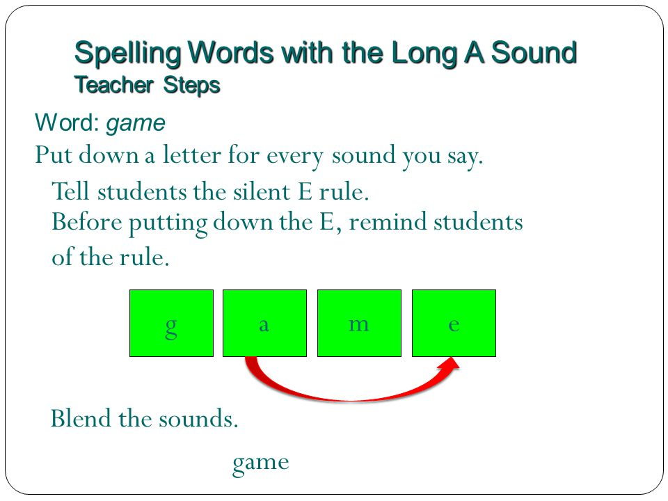 Spelling Words with the Long A Sound Teacher Steps