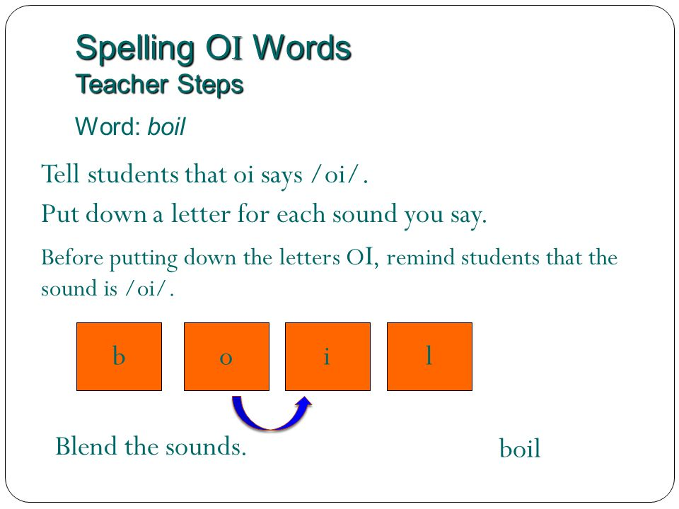 Spelling OI Words Teacher Steps
