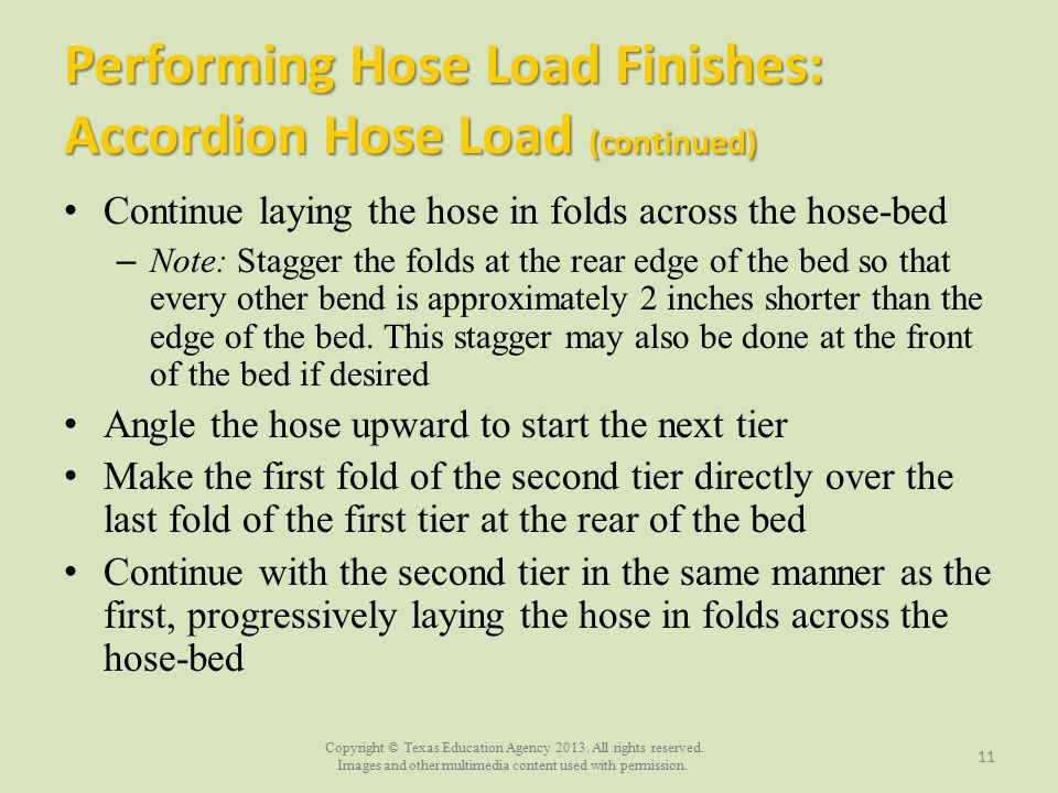Performing Hose Load Finishes: Accordion Hose Load (continued)