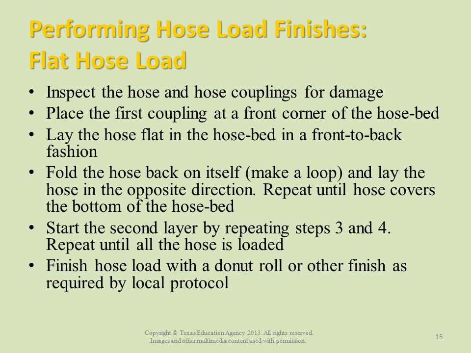 Performing Hose Load Finishes: Flat Hose Load