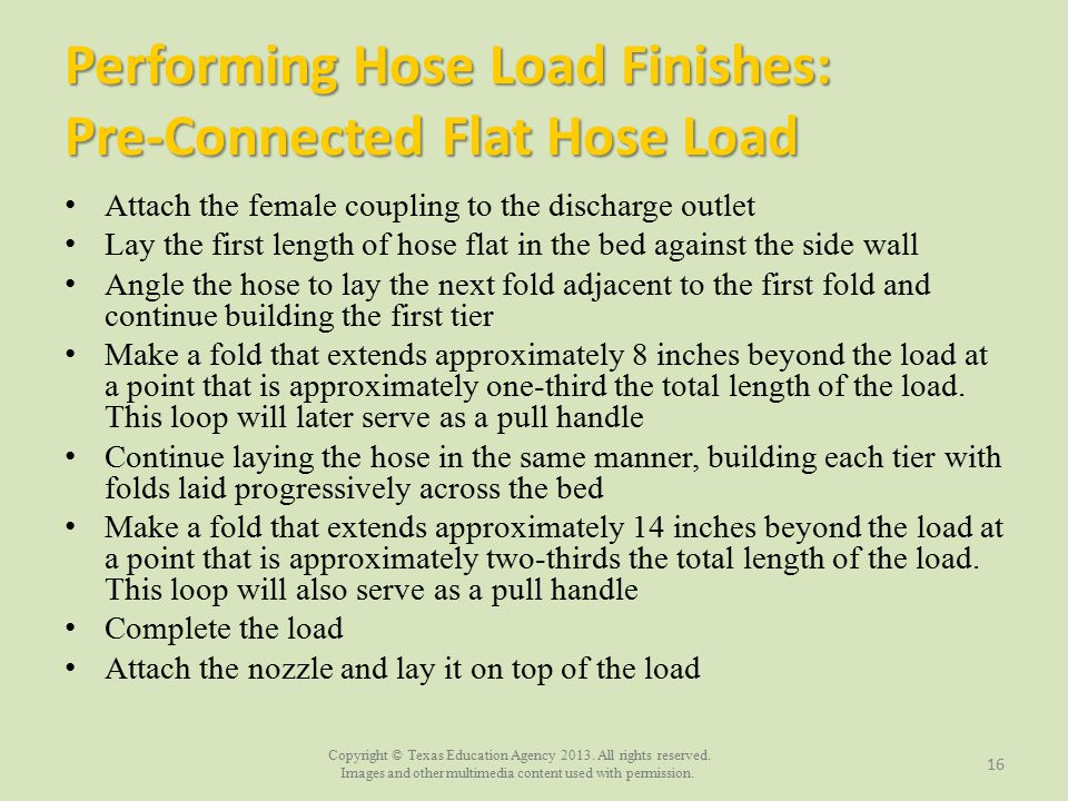 Performing Hose Load Finishes: Pre-Connected Flat Hose Load