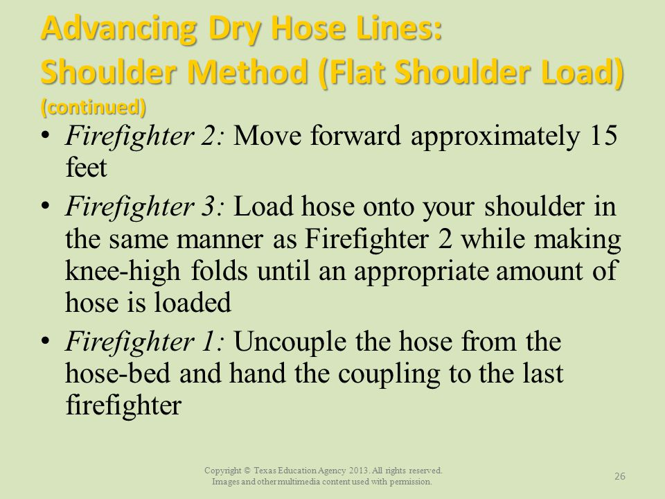 Advancing Dry Hose Lines: Shoulder Method (Flat Shoulder Load) (continued)