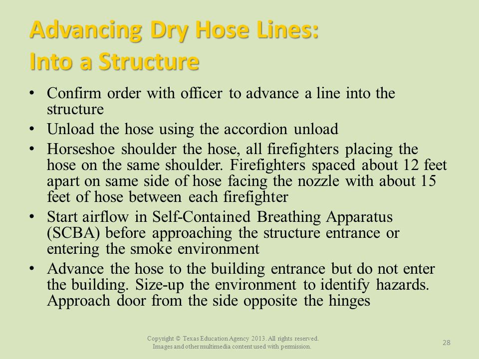 Advancing Dry Hose Lines: Into a Structure