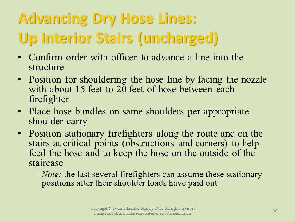Advancing Dry Hose Lines: Up Interior Stairs (uncharged)