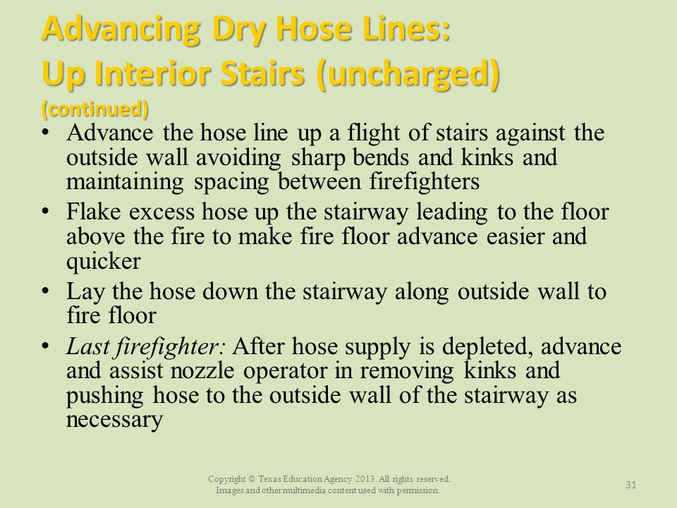 Advancing Dry Hose Lines: Up Interior Stairs (uncharged) (continued)