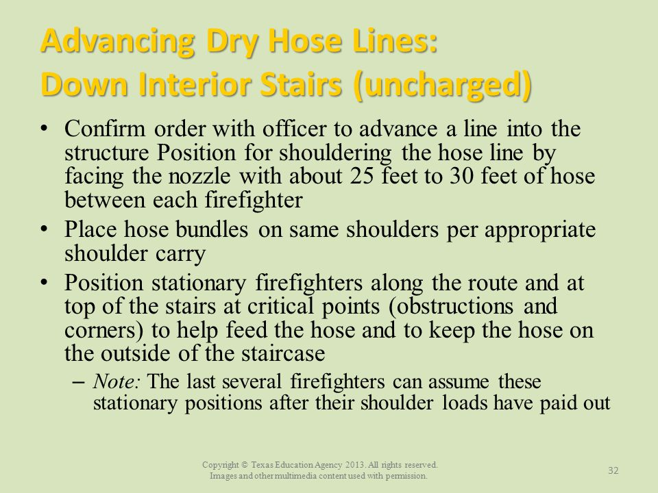 Advancing Dry Hose Lines: Down Interior Stairs (uncharged)