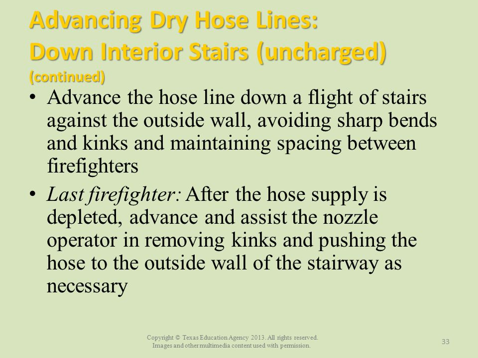 Advancing Dry Hose Lines: Down Interior Stairs (uncharged) (continued)