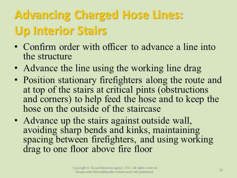 Advancing Charged Hose Lines: Up Interior Stairs