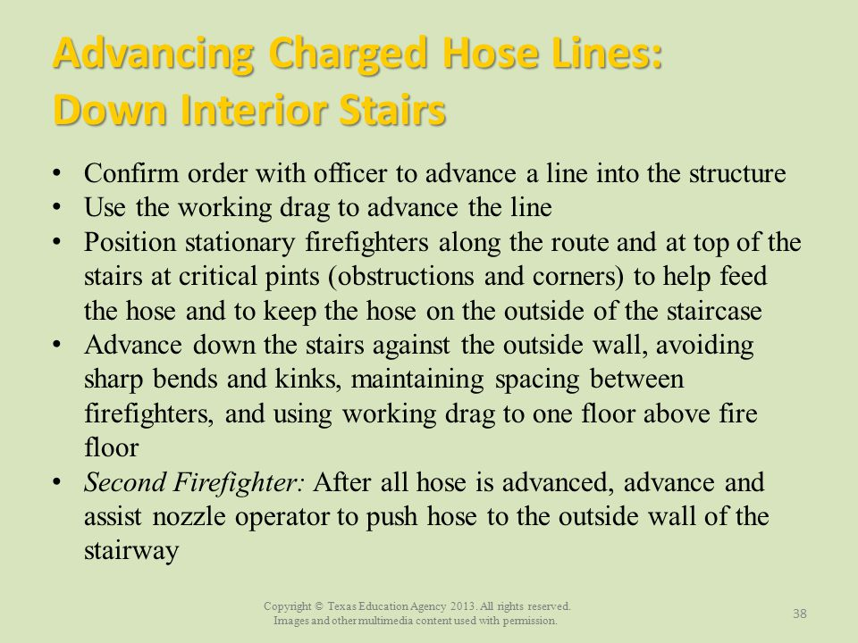 Advancing Charged Hose Lines: Down Interior Stairs