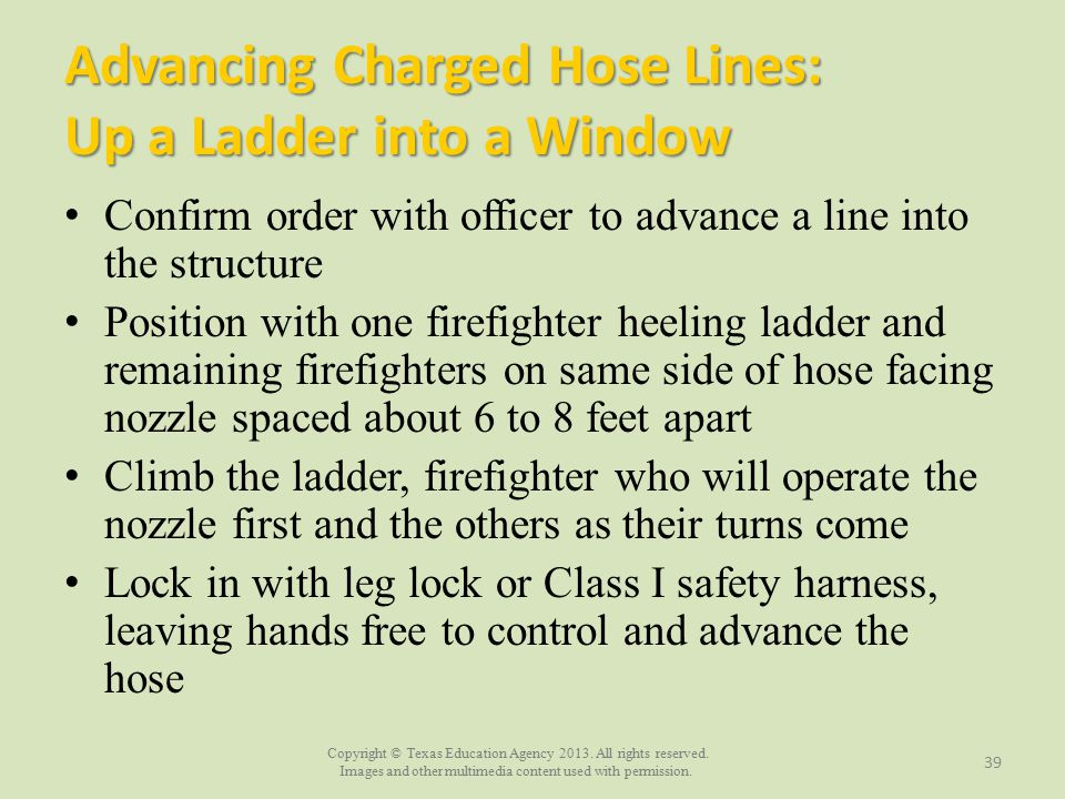 Advancing Charged Hose Lines: Up a Ladder into a Window