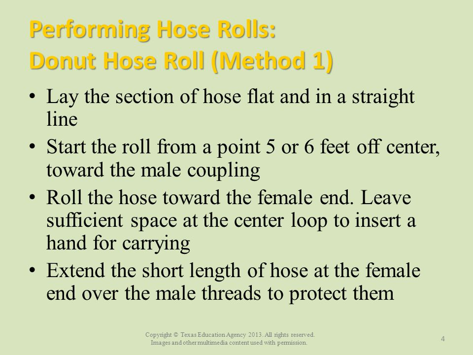 Performing Hose Rolls: Donut Hose Roll (Method 1)