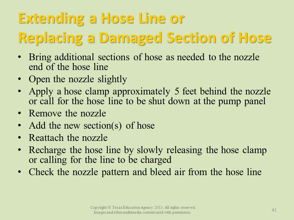 Extending a Hose Line or Replacing a Damaged Section of Hose