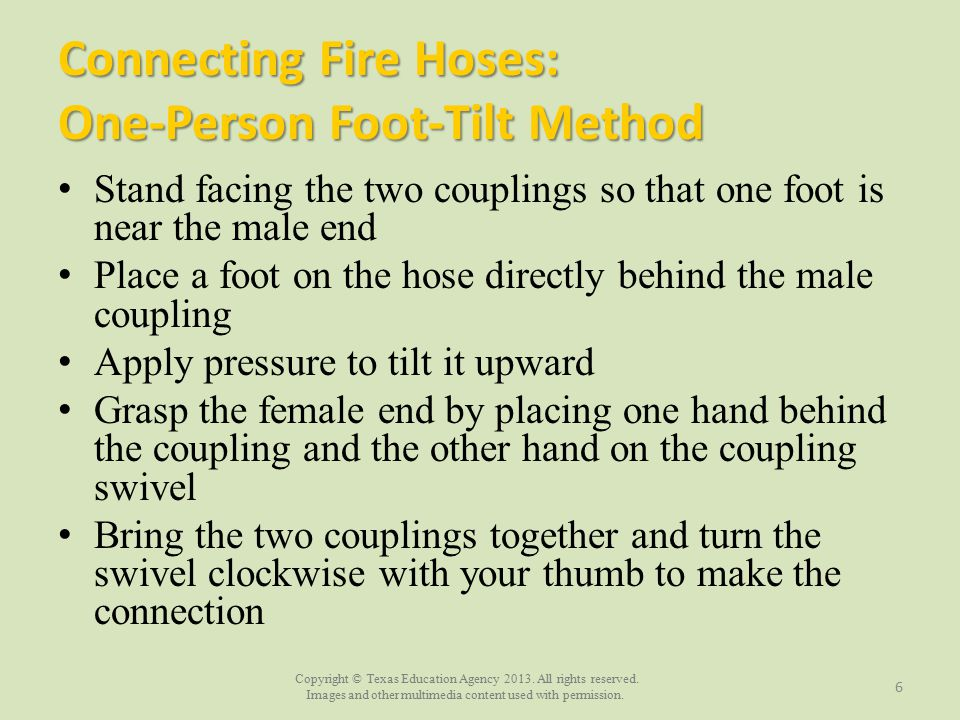 Connecting Fire Hoses: One-Person Foot-Tilt Method