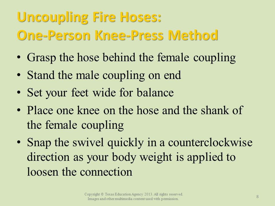 Uncoupling Fire Hoses: One-Person Knee-Press Method