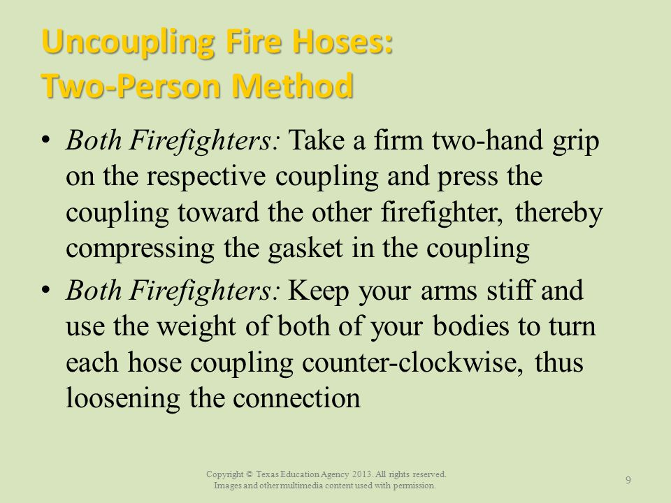 Uncoupling Fire Hoses: Two-Person Method