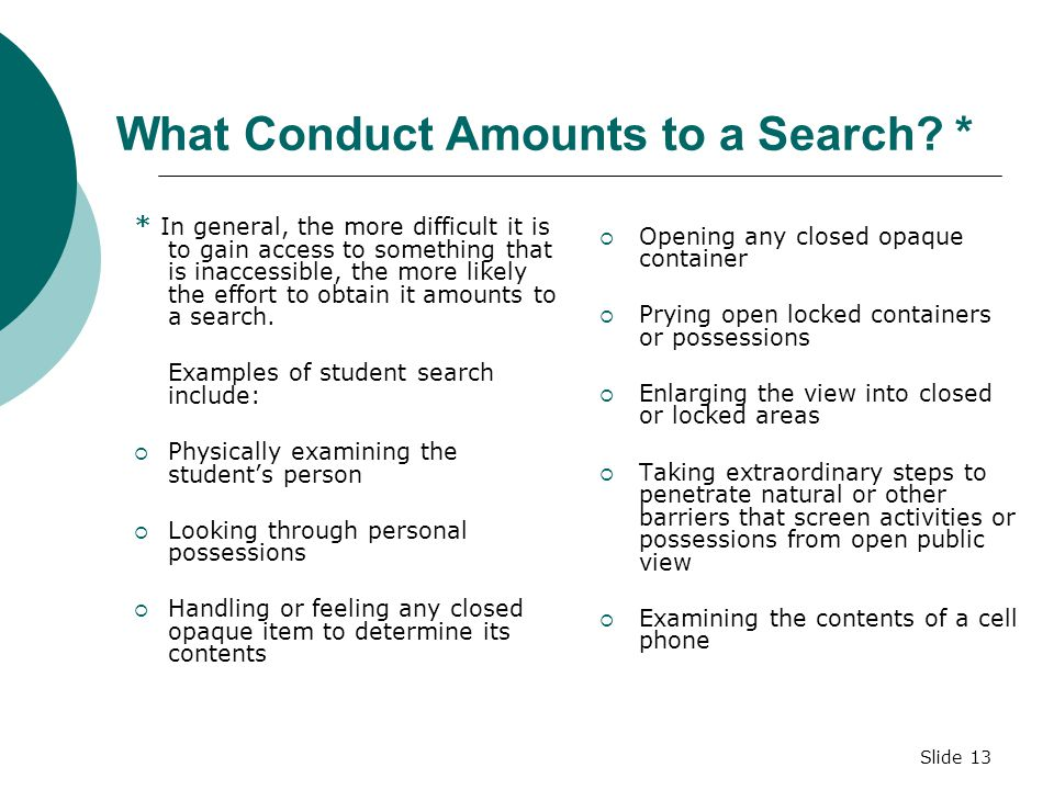 What Conduct Amounts to a Search *