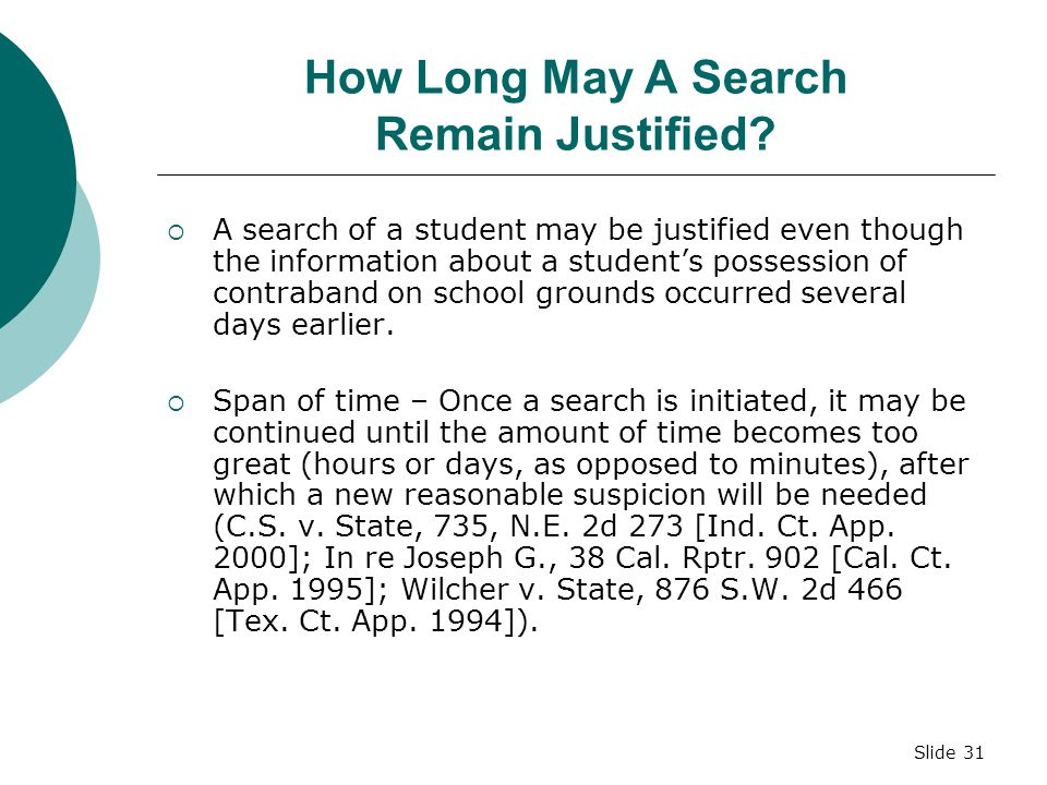 How Long May A Search Remain Justified