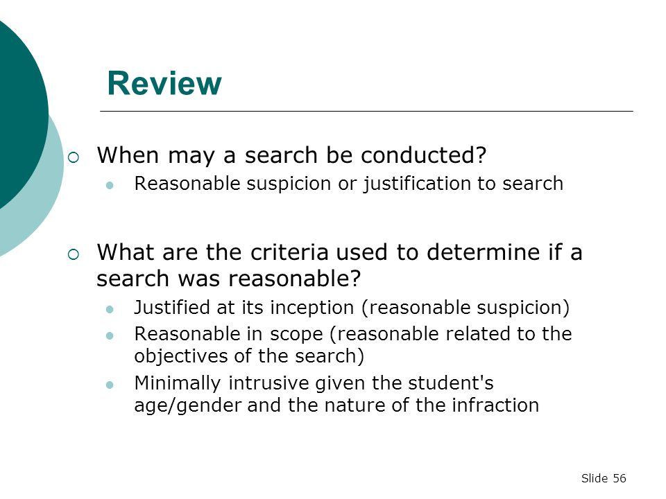 Review When may a search be conducted