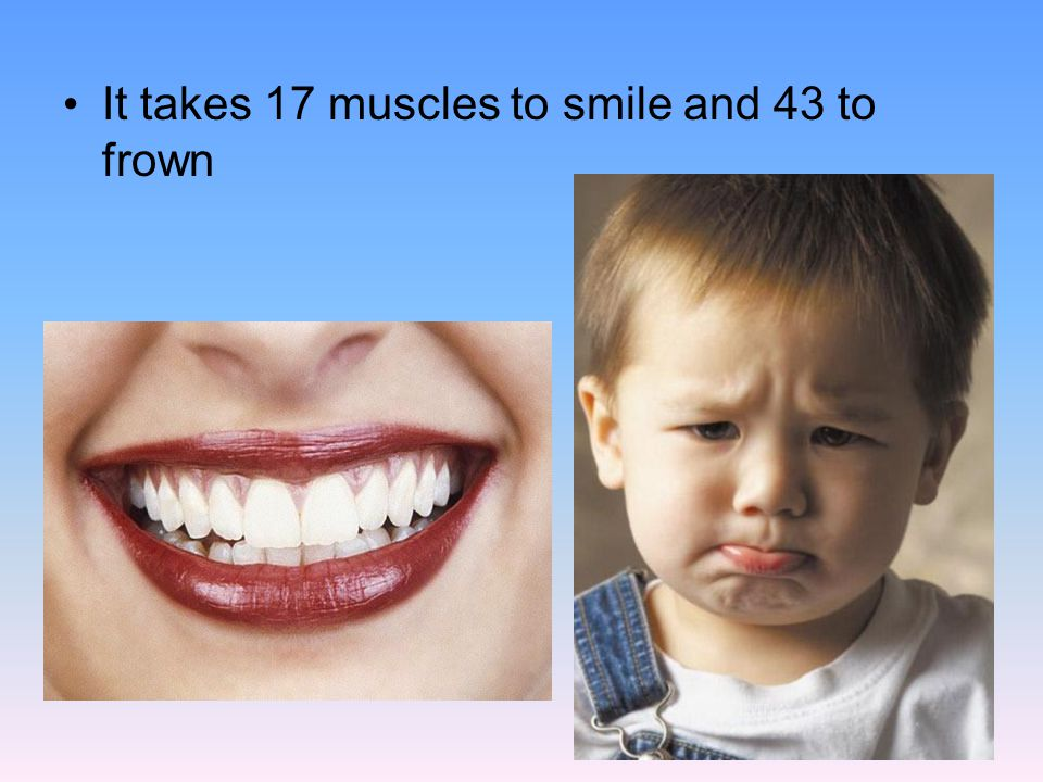 It takes 17 muscles to smile and 43 to frown
