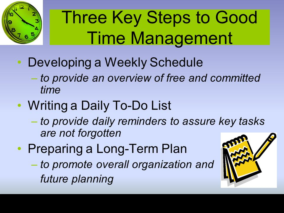 Three Key Steps to Good Time Management