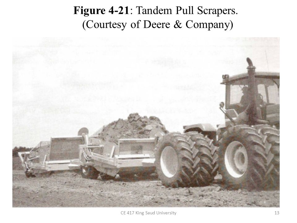 Figure 4-21: Tandem Pull Scrapers. (Courtesy of Deere & Company)