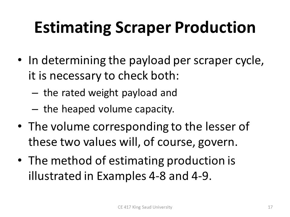 Estimating Scraper Production