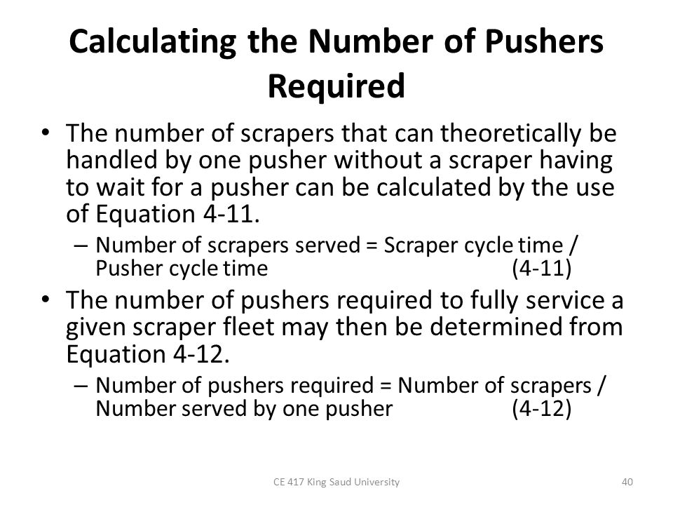 Calculating the Number of Pushers Required