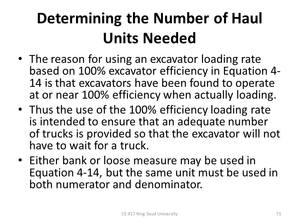 Determining the Number of Haul Units Needed