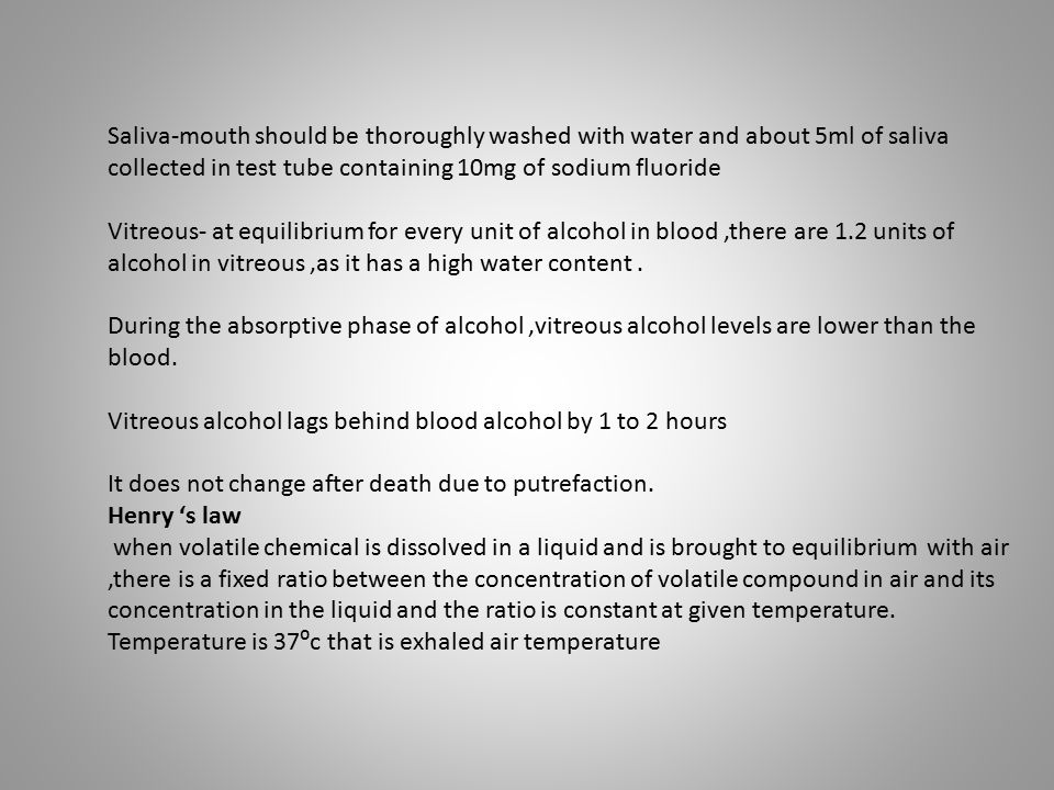 Saliva-mouth should be thoroughly washed with water and about 5ml of saliva collected in test tube containing 10mg of sodium fluoride