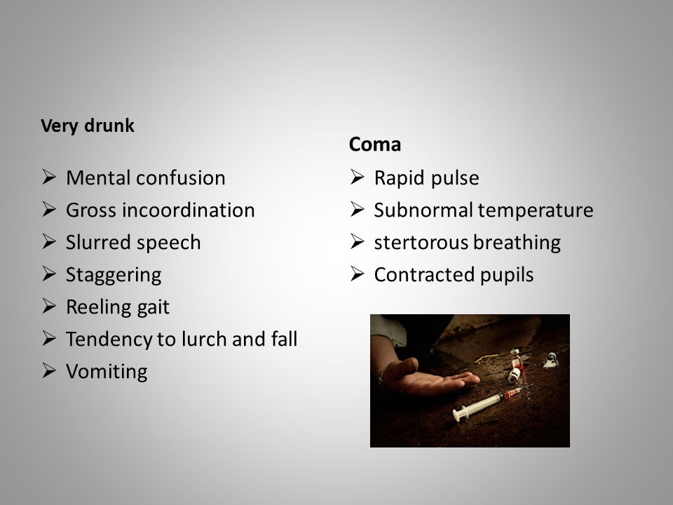 Tendency to lurch and fall Vomiting Rapid pulse Subnormal temperature