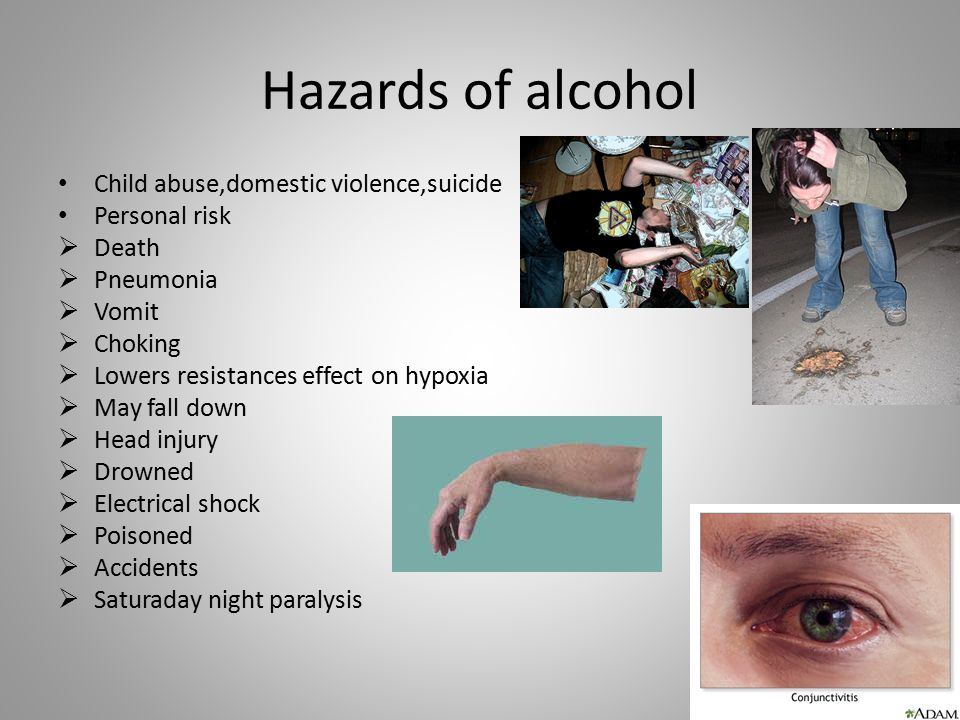 Hazards of alcohol Child abuse,domestic violence,suicide Personal risk