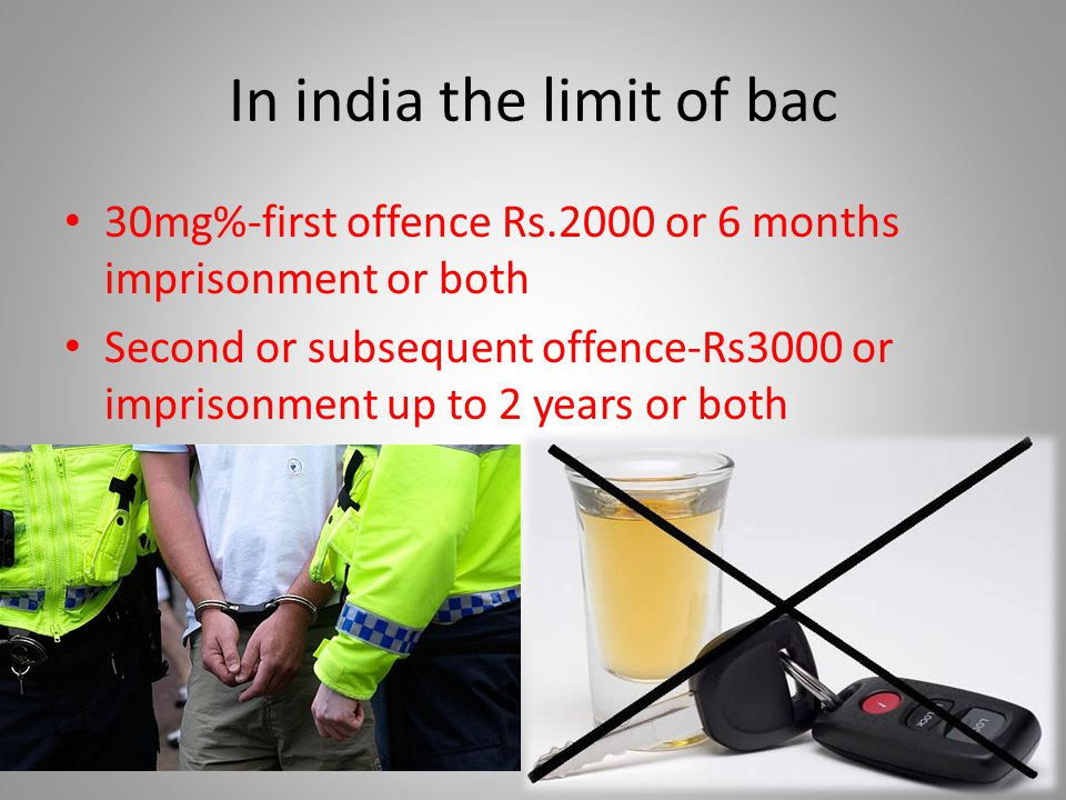 In india the limit of bac