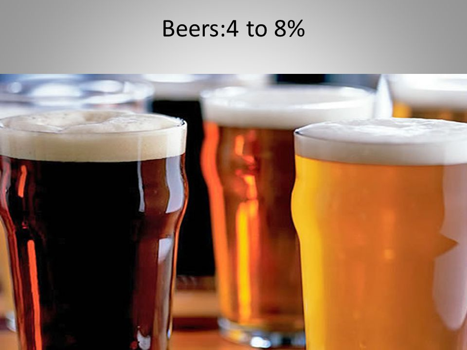 Beers:4 to 8%