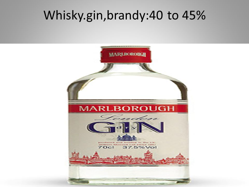 Whisky.gin,brandy:40 to 45%