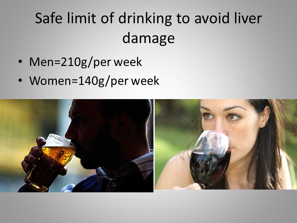 Safe limit of drinking to avoid liver damage