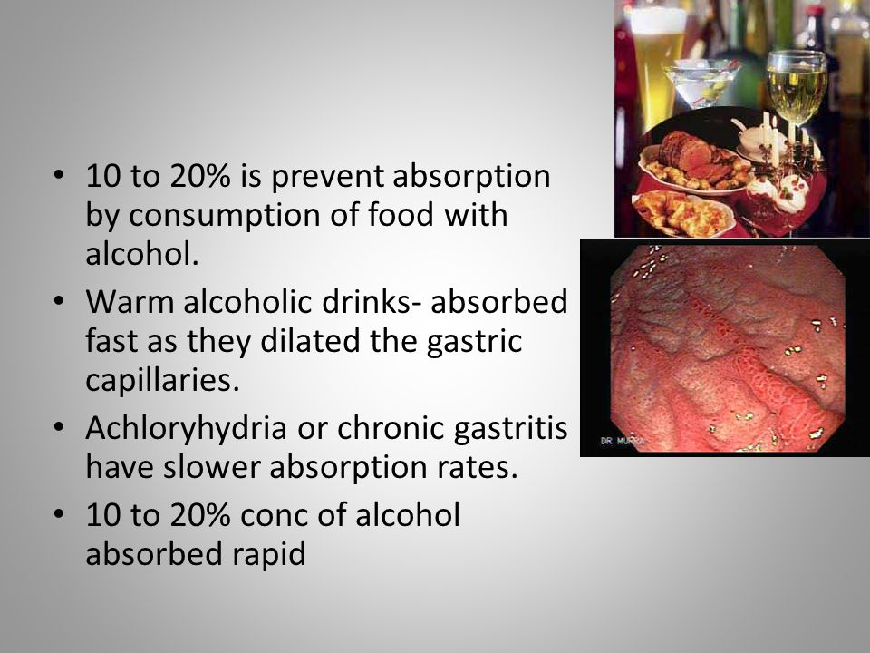 10 to 20% is prevent absorption by consumption of food with alcohol.