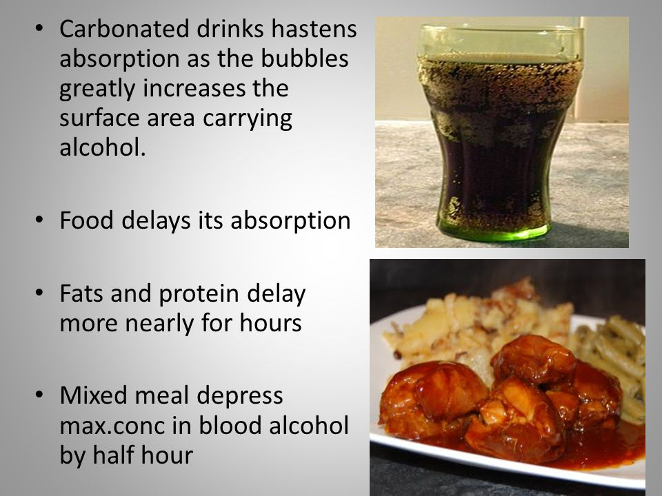 Carbonated drinks hastens absorption as the bubbles greatly increases the surface area carrying alcohol.