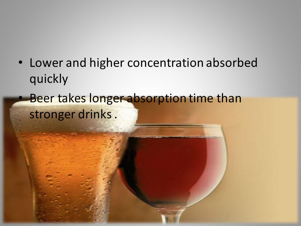 Lower and higher concentration absorbed quickly