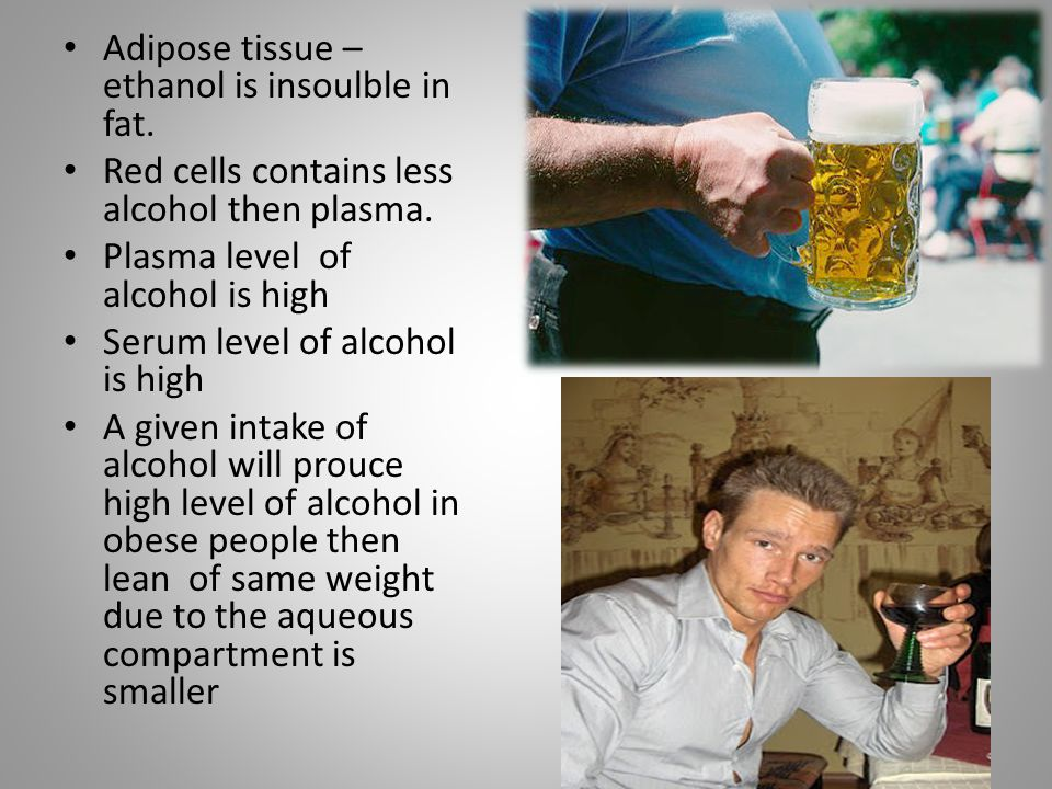 Adipose tissue –ethanol is insoulble in fat.