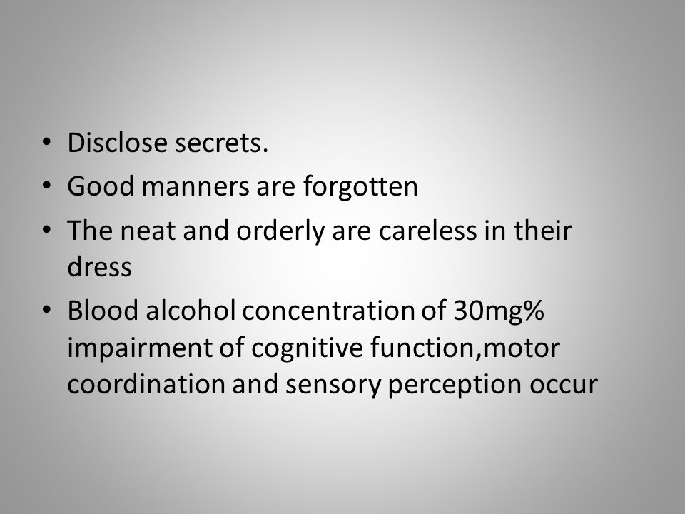 Disclose secrets. Good manners are forgotten. The neat and orderly are careless in their dress.