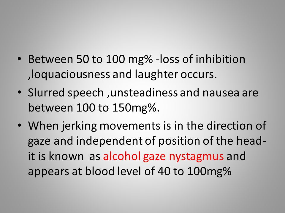 Between 50 to 100 mg% -loss of inhibition ,loquaciousness and laughter occurs.