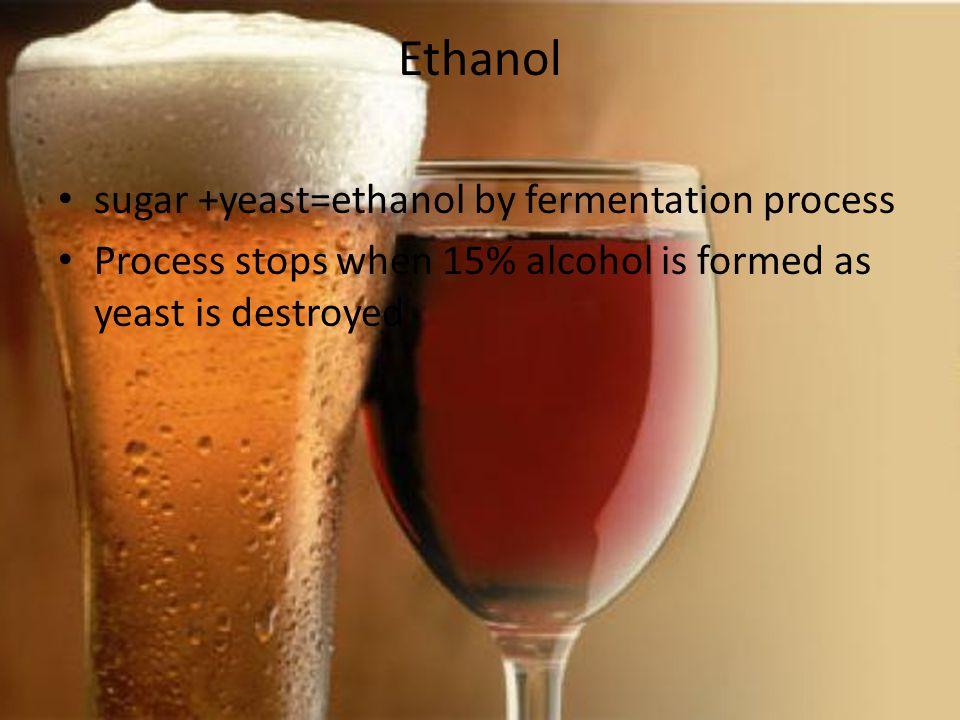 Ethanol sugar +yeast=ethanol by fermentation process