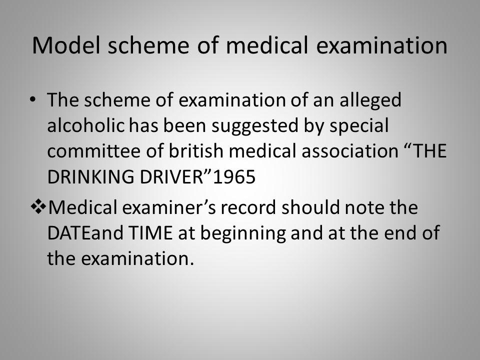 Model scheme of medical examination