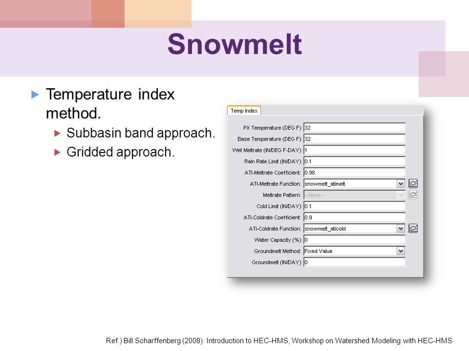 Snowmelt Temperature index method. Subbasin band approach.