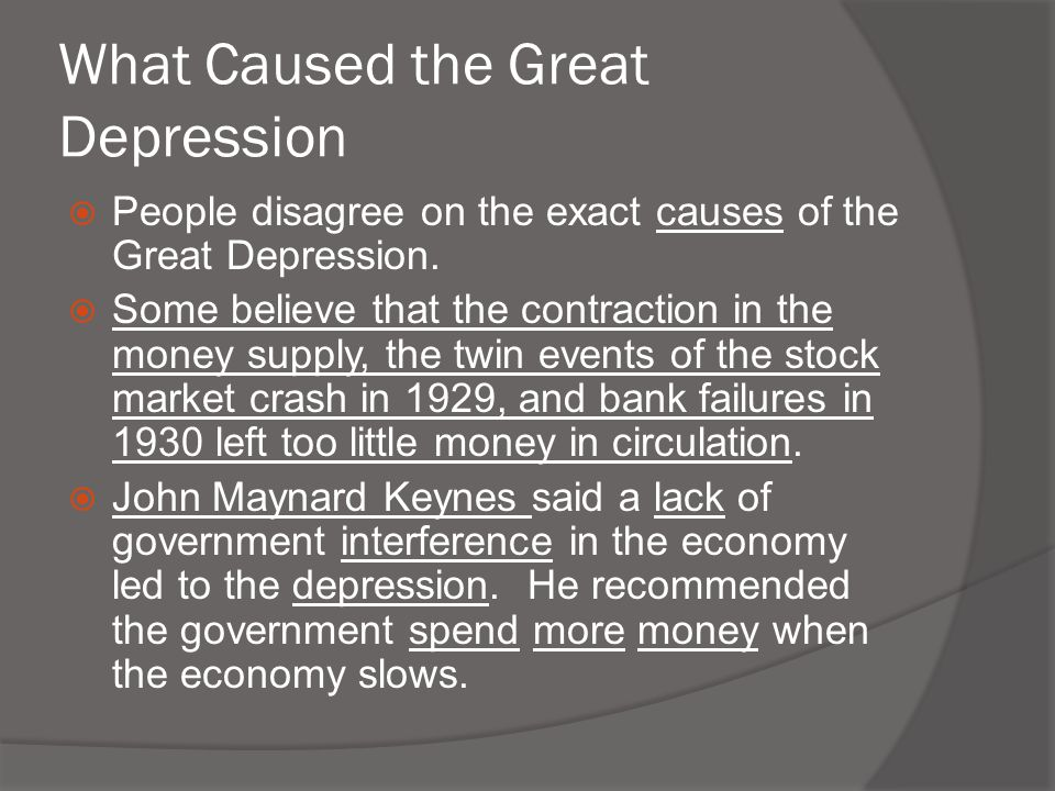 the escalating events that led to the great depression Events 1928herbert hoover is elected president 1929stock market crashes   and an increasing number of americans pulled their money out of the stock  market  was certainly the catalyst for the great depression, it was not the sole  cause.