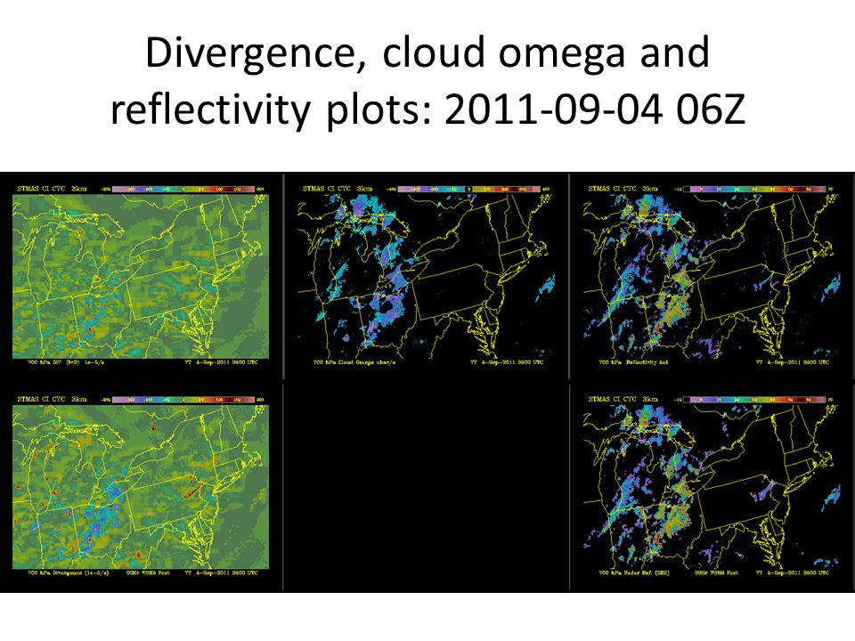 Divergence, cloud omega and reflectivity plots: 2011-09-04 06Z
