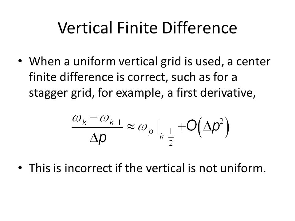 Vertical Finite Difference