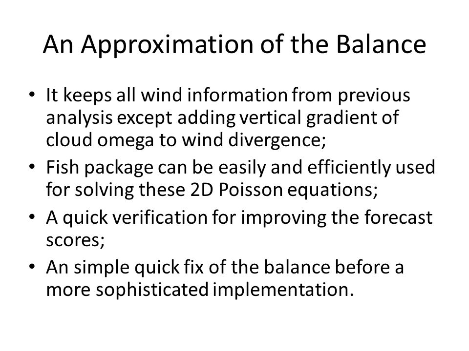 An Approximation of the Balance